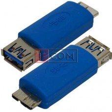 Переходник TCOM, штекер micro USB тип В - гнездо USB A, Vers.3.0, синий