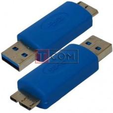Переходник TCOM, штекер micro USB тип В - штекер USB A, Vers. 3.0, синий