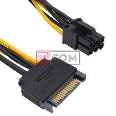 Кабель для видеокарт TCOM (штекер SATA 15pin - 6pin Card power) длина 15см