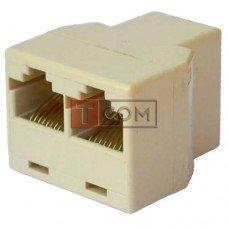 Компьютерный переходник TCOM, 1 гнездо - 2 гнезда (8р8с), бежевый