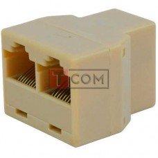 Компьютерный переходник TCOM, 1 гнездо - 2 гнезда (8р8с), бежевый (Тип2)