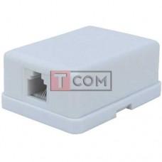 Телефонная розетка х1 (6Р4С) TCOM наружная с липучкой | Переходники аудио-видео и ТВ