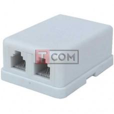 Телефонная розетка х2 (6Р4С) TCOM наружная, с липучкой | Переходники аудио-видео и ТВ