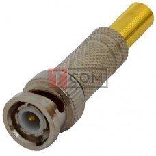 Штекер BNC TCOM, под кабель, с позолоченой пружиной, под винт, цинк