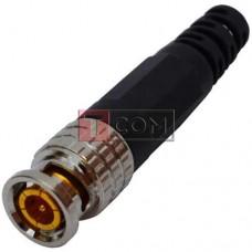 Штекер BNC TCOM, под кабель, с пружиной, пластиковый