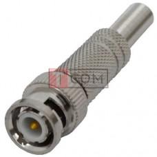 Штекер BNC TCOM, под кабель, с пружиной, под закрутку, металл