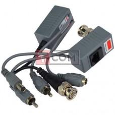 Передатчик-приёмник аудио-видео сигнала + питание, по витой паре TCOM
