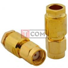 """Штекер SMA (реверсный) TCOM, под кабель (RG-58), """"позолоченный"""", латунь"""