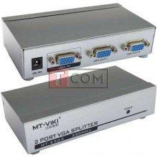 Сплитер VGA 1x2 MT-VIKI (1920x1440, 250MHz), металлический, DC-9V