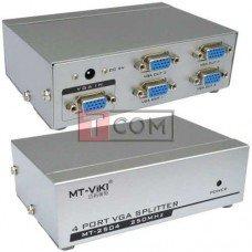 Сплиттер VGA на 4 порта MT-VIKI, 1 гнездо VGA - 4 гнездо VGA, металл, DC-9V, 300mA (MT-2504)