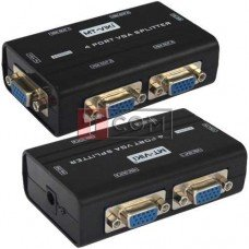 Сплиттер VGA (мини) на 4 порта MT-VIKI, 1 гнездо VGA - 4 гнездо VGA, DC-9V, 300mA (MT-2504-A)