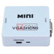 Конвертор VGA в HDMI TCOM, гнездо VGA + гнездо 3.5мм (IN) - гнездо HDMI (OUT)