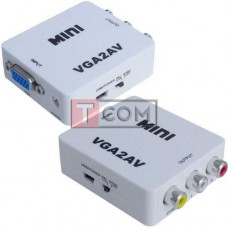 Конвертер mini VGA в AV TCOM, гнездо VGA (IN) - 3 гнезда RCA (OUT)