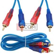Шнур соединительный TCOM, 2RCA - 2RCA gold, прозрачно-синий, 3+3мм, 1.5м