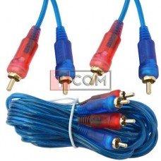 Шнур соединительный TCOM, 2RCA - 2RCA gold, прозрачно-синий, 3+3мм, 3м