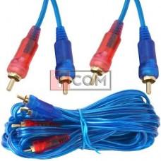 Шнур соединительный TCOM, 2 RCA - 2 RCA, gold, Ø3+3мм прозрачно-синий, 5м
