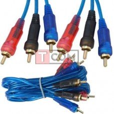 Шнур соединительный TCOM, 3RCA - 3RCA, gold, Ø3+3+3мм, прозрачно-синий, 1.5м