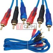 Шнур соединительный TCOM, 3RCA - 3RCA, gold, Ø 3+3+3мм, прозрачно-синий, 3м