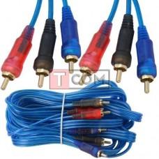 Шнур соединительный TCOM, 3RCA - 3RCA, gold, Ø3+3+3мм, прозрачно-синий, 5м