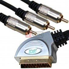 Шнур соединительный TCOM, штекер Скарт - 3RCA, металл., gold, в блистере,с фильтрами, 1.5м