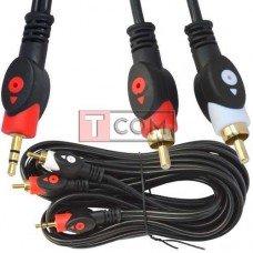 Шнур аудио-видео TCOM, штекер 3.5 стерео - 2 штекера RCA, gold, Ø4х8мм, 5м, чёрный