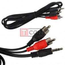 Шнур аудио-видео TCOM, штекер 3.5 стерео - 2 штекера RCA, Ø2.6х5.2мм, 1.2 м
