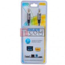 Шнур аудио AUX TCOM, штекер 3.5 стерео - штекер 3.5 стерео, металл, Ø4мм, 1м, блистер