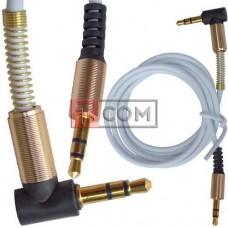 Шнур аудио AUX TCOM, штекер 3.5 стерео - штекер 3.5 стерео угловой gold, 1м, белый