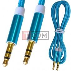 Шнур аудио AUX TCOM, штекер 3.5 стерео - штекер 3.5 стерео, сетка, металл, gold, 1м, синий
