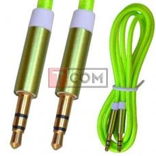 Шнур аудио AUX TCOM, штекер 3.5 стерео - штекер 3.5 стерео, сетка, металл, gold, 1м, зелёный