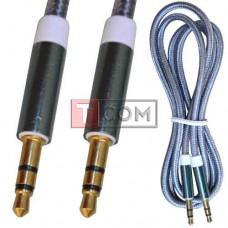 Шнур аудио AUX TCOM, штекер 3.5 стерео - штекер 3.5 стерео, сетка, металл, gold, 1м, серый