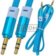 Шнур аудио AUX TCOM, штекер 3.5 стерео - штекер 3.5 стерео, плоский, gold, 1м, синий