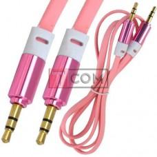 Шнур аудио AUX TCOM, штекер 3.5 стерео - штекер 3.5 стерео, плоский, gold, 1м, розовый