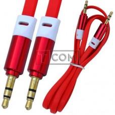 Шнур аудио AUX TCOM, штекер 3.5 стерео - штекер 3.5 стерео, плоский, gold, 1м, красный