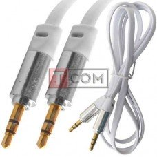 Шнур аудио AUX TCOM, штекер 3.5 стерео - штекер 3.5 стерео, плоский, gold, 1м,белый