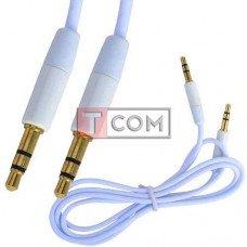 Шнур аудио AUX TCOM, штекер 3.5 стерео - штекер 3.5 стерео, gold, Ø3мм, 1м, белый