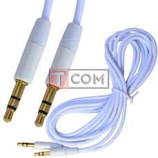 Шнур аудио AUX TCOM, штекер 3.5 стерео - штекер 3.5 стерео, gold, Ø3мм, 2м, белый