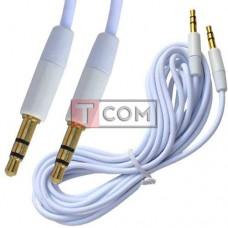 Шнур аудио AUX TCOM, штекер 3.5 стерео - штекер 3.5 стерео, gold, Ø3мм, 3м, белый