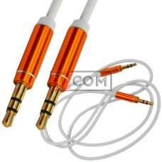Шнур аудио AUX TCOM, штекер 3.5 стерео - штекер 3.5 стерео, металл, gold, Ø3мм, 1м, белый