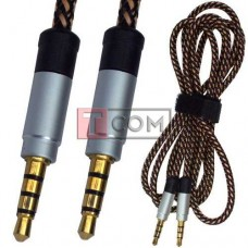Шнур аудио AUX TCOM, штекер 3.5мм 4C - штекер 3.5мм 4C в cетке, gold, 1м, серебристый, в блистере
