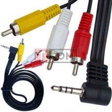 Шнур аудио-видео TCOM, штекер 3.5мм 4C угловой (удлинённый) - 3 штекера RCA, 1.8м, чёрный в упаковке