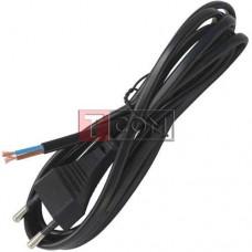 Шнур сетевой без разъёма 2x0.75мм, 1,8м, чёрный