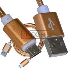 Шнур компьютерный TCOM, штекер USB А - штекер miсroUSB, металлическая изоляция, Ø4.5мм, 1м, золотистый