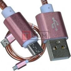 Шнур компьютерный TCOM, штекер USB А - штекер miсroUSB, металлическая изоляция, Ø4.5мм, 1м, розовый