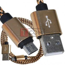 Шнур штекер USB А - штекер miсroUSB (Samsung), сетка, 1м, золотистый