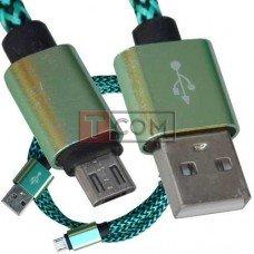 Шнур компьютерный TCOM, штекер USB А - штекер miсroUSB (Samsung), 2.1А, сетка, Ø4.5мм, 1м, зелёный