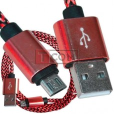 Шнур компьютерный TCOM, штекер USB А - штекер miсroUSB (Samsung), 2.1А, сетка, Ø4.5мм, 1м, красный