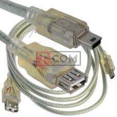 Шнур компьютерный TCOM, гнездо USB А - штекер miniUSB 5pin, Vers-2.0, Ø5мм, 1.5м, прозрачный
