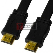 Шнур HDMI TCOM, штекер - штекер, плоский кабель, gold, 1.5м, чёрный, в блистере