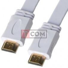 Шнур HDMI TCOM, штекер - штекер, плоский кабель, gold, 1.5м, белый, в блистере